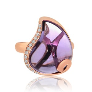 14K Rose Gold large Pear Shape Amethyst with Diamonds Semi Precious Fashion Ring