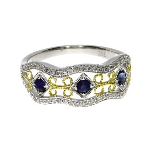 14K Two Tone White and Yellow Gold Sapphire and Diamond Precious Filigree Ring