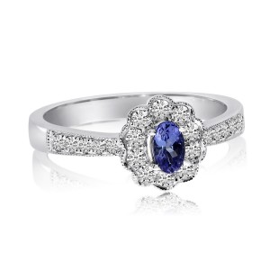 14K White Gold 5x3 Oval Tanzanite and Diamond Flower Fashion Ring