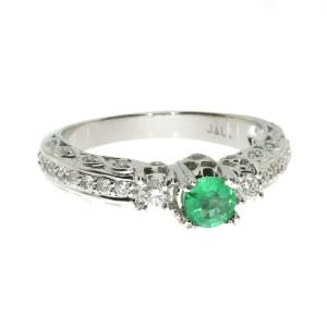 14K White Gold Precious Emerald Solitaire Fashion Ring