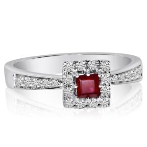 14K White Gold Princess Ruby and Diamond Precious Square Fashion Ring