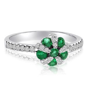 14K White Gold Precious Emerald and Diamond Ball Fashion Ring