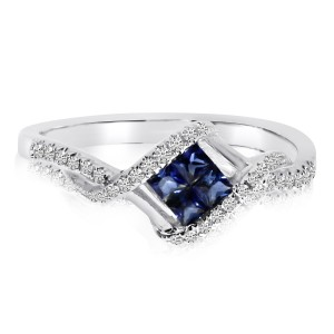 14K White Gold Princess Sapphire and Diamond Precious Square Fashion Ring