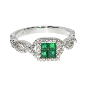 14K White Gold Precious Four Princess Emerald and Diamond Fashion Ring