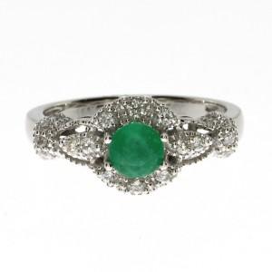 14K White Gold 5mm Round Emerald and Diamond Precious Fashion Ring