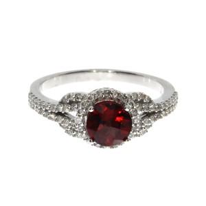 14K White Gold 6mm Round Garnet and Diamond Semi Precious Fashion Ring