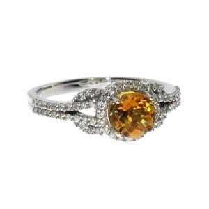14K White Gold 6mm Round Citrine and Diamond Semi Precious Fashion Ring