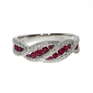14K White Gold Ruby and Diamond Fashion Euro Shank Precious Ring