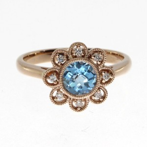 14K Rose Gold Round Blue Topaz Flower Semi Precious Fashion Ring
