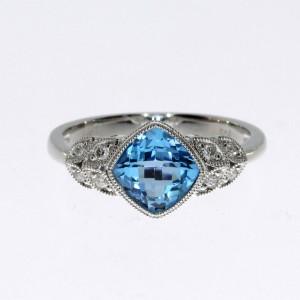 14K White Gold Blue Topaz Cushion Diamond Leaf Fashion Ring