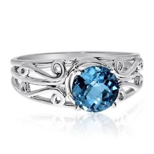 14K White Gold 7mm Round Semi Precious Blue Topaz Filigree Fashion Ring