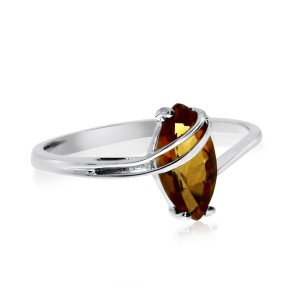 14K White Gold 8x4 mm Marquise Citrine Overpass Semi Precious Fashion Ring