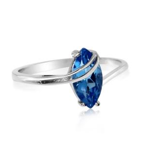 14K White Gold 8x4 mm Marquise Blue Topaz Overpass Semi Precious Fashion Ring
