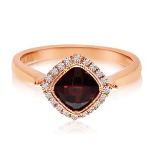 14K Rose Gold 6mm Cushion Garnet and Diamond Fashion Ring