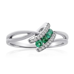 14K White Gold 2.4 mm Round Emerald and Diamond Precious Angle Ring