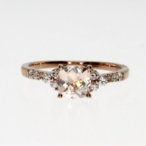 14K Rose Gold 5 mm Cushion Morganite and Diamond Fashion Ring