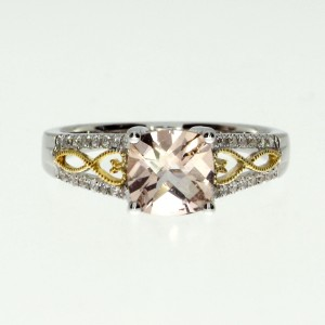14K Two Tone White and Yellow Gold 6mm Cushion Morganite and Diamond Fashion Rin