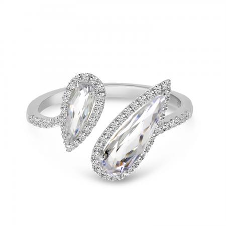 14K White Gold Offset Duo Semi Precious Pear White Topaz & Diamond Ring