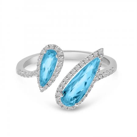 14K White Gold Offset Duo Semi Precious Pear Blue Topaz & Diamond Ring