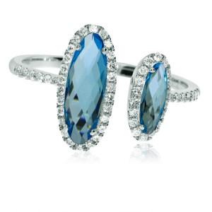 14K White Gold Offset Oval 10x5 mm and 8x3 mm Blue Topaz and Diamond Semi precio