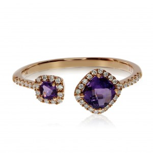 14K Rose Gold Offset 6mm and 4mm Cushion Amethyst and Diamond Semi precious Fash