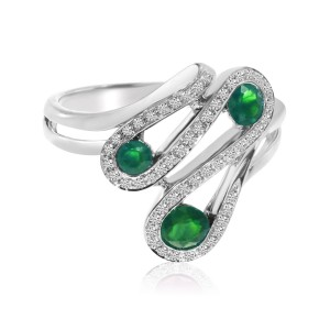 14K White Gold Round Emerald and Diamond Wave Precious Fashion Ring