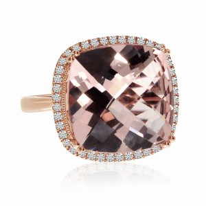 14K Rose Gold 12 mm Cushion Morganite and Diamond Large Fashion Ring