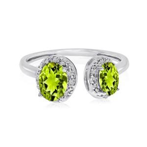 10K White Gold Offset Double Oval Peridot Semi Precious and Diamond Fashion Ring