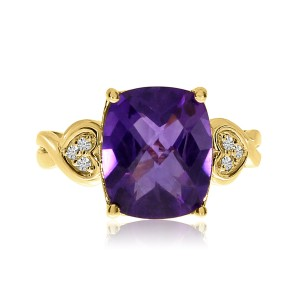 14K Rose Gold 12x10 mm Cushion Amethyst and Diamond Semi Precious Fashion Ring
