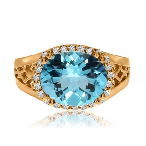 14K Rose Gold 12x10 mm Oval Blue Topaz and Diamond Sideway Semi Precious Fashion