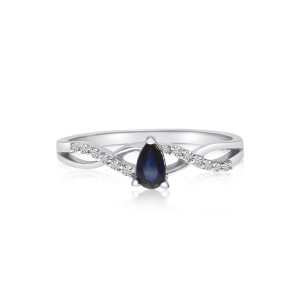 14K White Gold 5x3 mm Pear Sapphire and Diamond Precious Ring