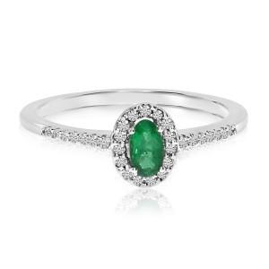 14K White Gold Oval Emerald and Diamond Precious Fashion Ring