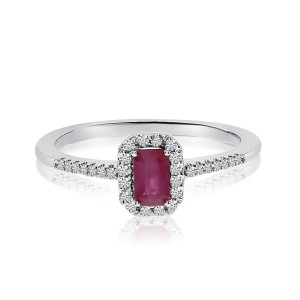 14K White Gold Octagon Ruby and Diamond Precious Ring