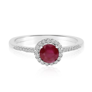14K White Gold Round Ruby and Diamond Halo Precious Ring