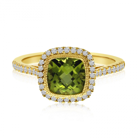 14K Yellow Gold Cushion Bezel Peridot and Diamond Semi Precious Ring