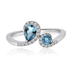 14K White Gold Semi precious Pear and Round Blue Topaz Diamond Fashion Ring