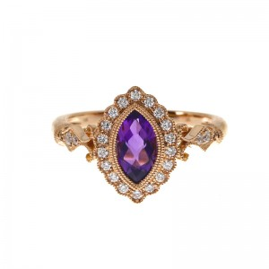 14K Rose Gold Marquise Amethyst and Diamond Braided Semi Precious Ring