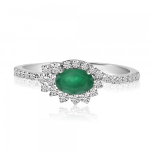 14K White Gold Size Set Oval Emerald and Diamond Precious Ring