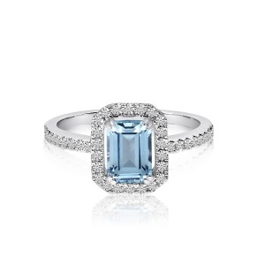 14K White Gold Octagon Blue Topaz and Diamond Semi Precious Ring