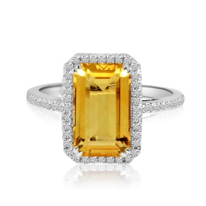 14K White Gold Large Octagon Citrine and Diamond Semi Precious Ring