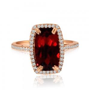 14K Rose Gold 12x6 Octagon Cushion Garnet and Diamond Semi Precious Fashion Ring