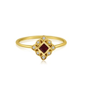 14K Yellow Gold Princess Ruby and Diamond Filigree Precious Ring