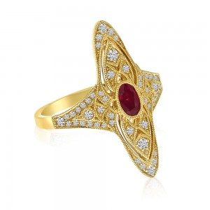 14K Yellow Gold Oval Ruby and Diamonds Precious Filigree Ring