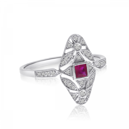 14K White Gold Filigree Princess Cut Ruby and Diamond Ring