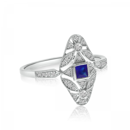 14K White Gold Filigree Princess Cut Sapphire and Diamond Ring