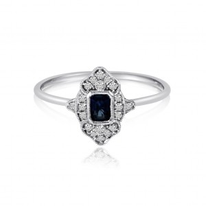 14K White Gold Octagon Sapphire and Diamond Filigree Precious Ring