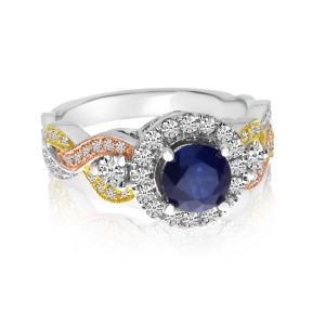 14K Tricolor Yellow, White and Rose Gold Round Sapphire and Diamond Precious Rin