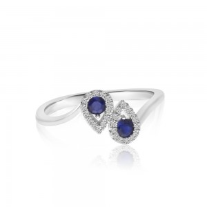 14K White Gold Precious Round Sapphire Duo Pear Fashion Ring