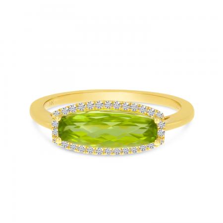 14K Yellow Gold Elongated Baguette Peridot and Diamond Semi Precious Ring