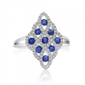 14K White Gold Lightweight Precious 9 Stone Sapphire and Diamond Ring